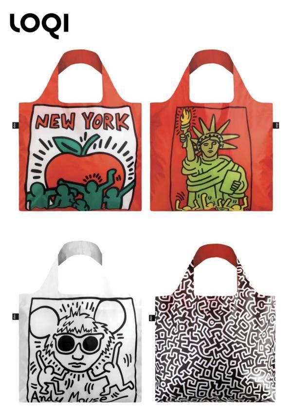 LOQI x Keith Haring Tote Bags/Zip Pockets
