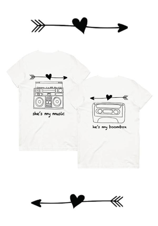 Couples T-shirts: Music to my Boombox