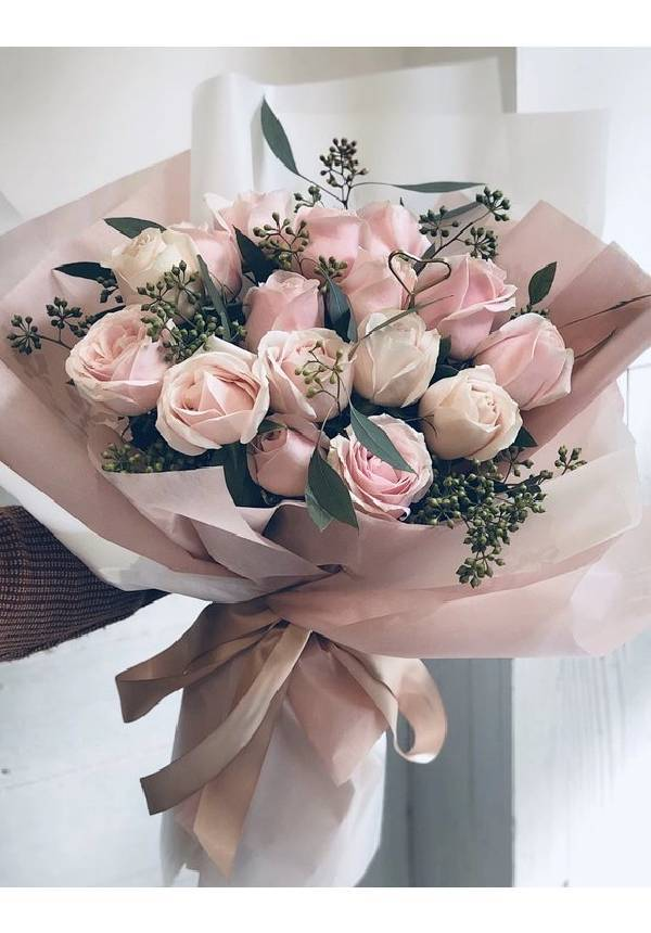 Pink Rose and Eucalyptus Bouquet